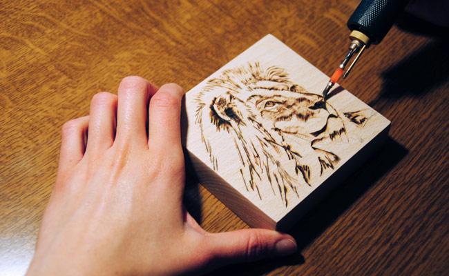 pirograbando leon dibujo